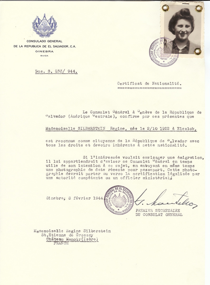 Unauthorized Salvadoran citizenship certificate issued to Regine Silberstein (b. October 2, 1922 in Eleslok) by George Mandel-Mantello, First Secretary of the Salvadoran Consulate in Switzerland and sent to her residence in the Chateau Manoir children's home in Saint Etienne children's home.   Chateau Manoir served as a religious children's home under the supervision of Rabbi Zalman Schneersohn.