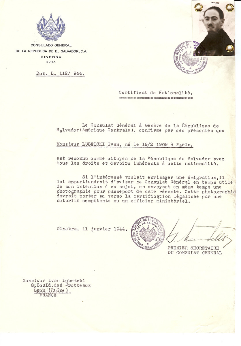 Unauthorized Salvadoran citizenship certificate issued to Ivan Lubetski (b. February 19, 1909 in Paris) by George Mandel-Mantello, First Secretary of the Salvadoran Consulate in Switzerland and sent to his residence in Lyon.   Ivan Lubetski immigrated to Switzerland on June 16, 1944.