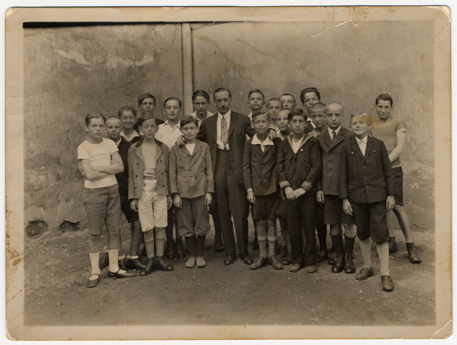 A class picture is taken at a school in Budapest.  Pictured is Agnes Biel's mother's brother.
