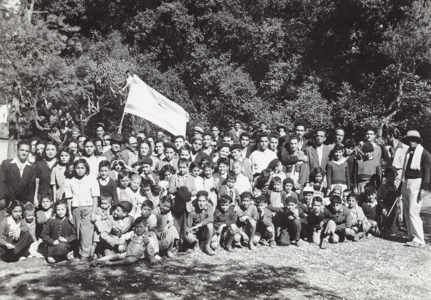 Group portrait of Jewish children in Marseilles waiting to go to Israel.