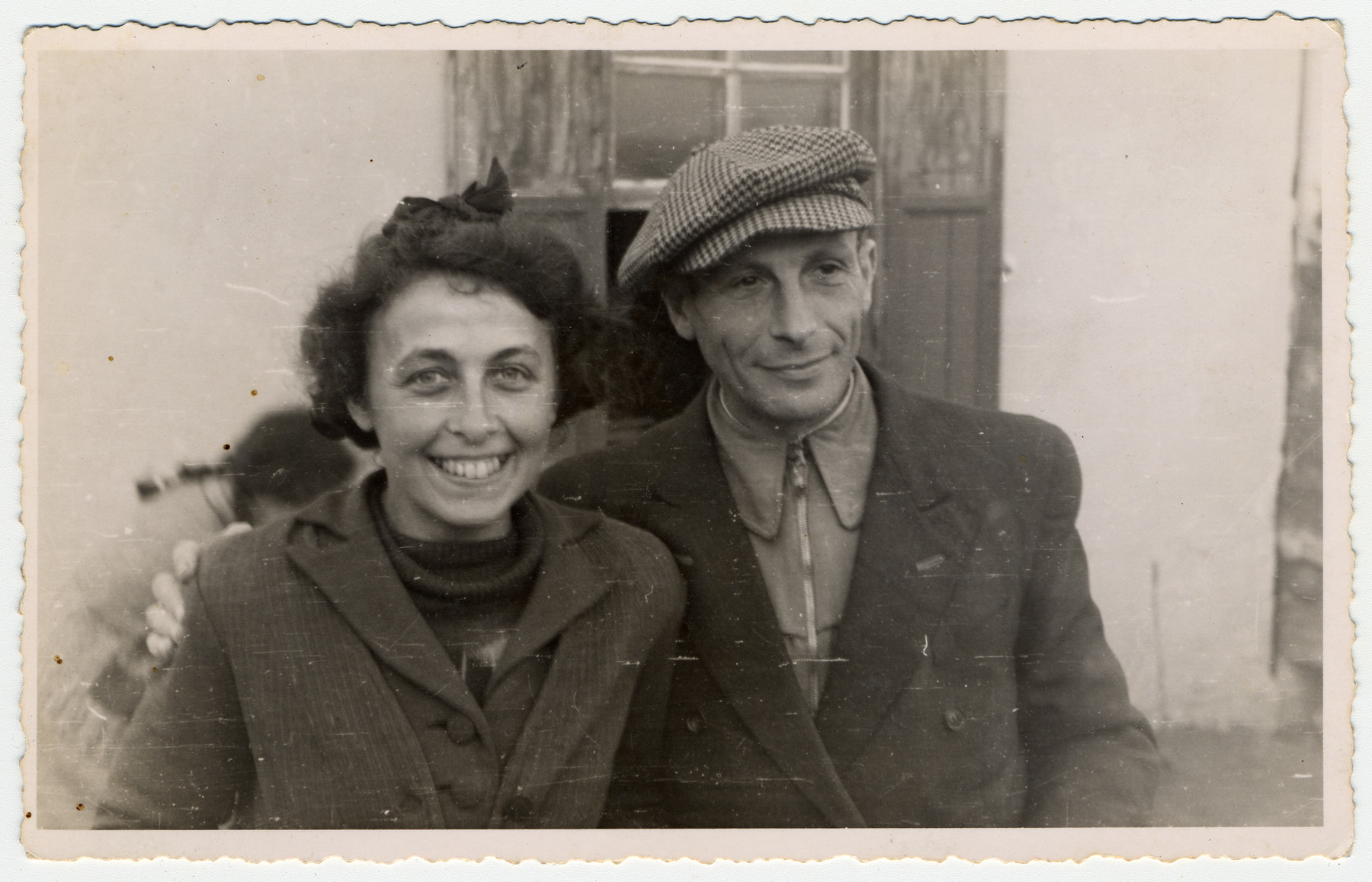 Close-up portrait of a German Jewish couple who were living as refugees in Albania.  Pictured are Alice and Siegbert Gerechter.