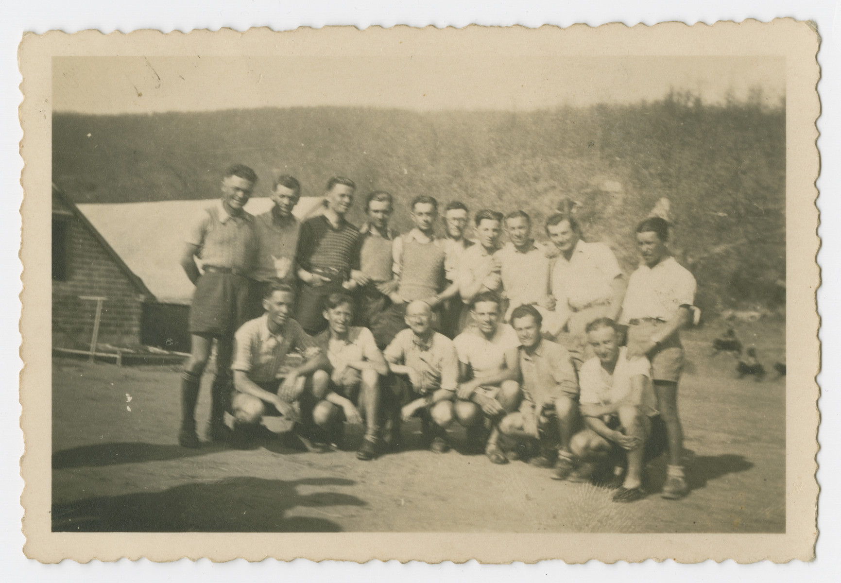 Group portrait of internees in a Bulgarian labor camp.
