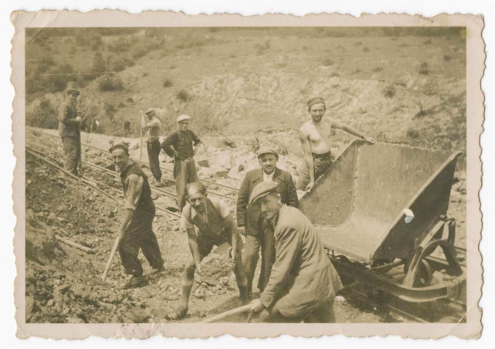 Internees work at a construction site in a Bulgarian labor camp.