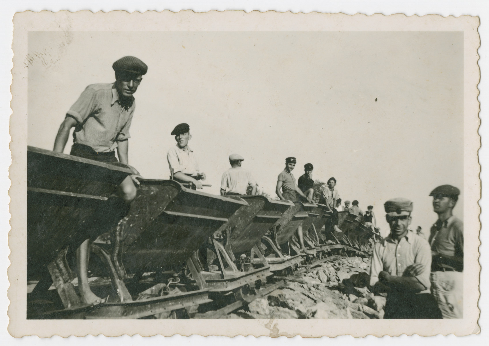 Internees construct train tracks in a Bulgarian labor camp.