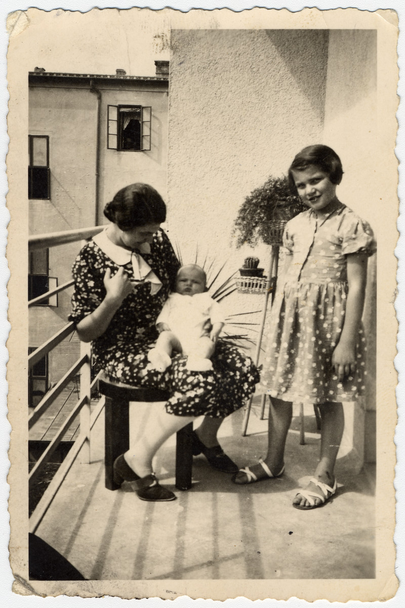 Marta Willer, her baby daughter Rina, and niece Erna Tarbuk pose on a balcony in Zagreb.   Erna Tarbuk was half-Jewish and the daughter of a Croatian aristocrat.  Because of her family background she corresponded with Marta's husband after his incarceration in Jasenovac.