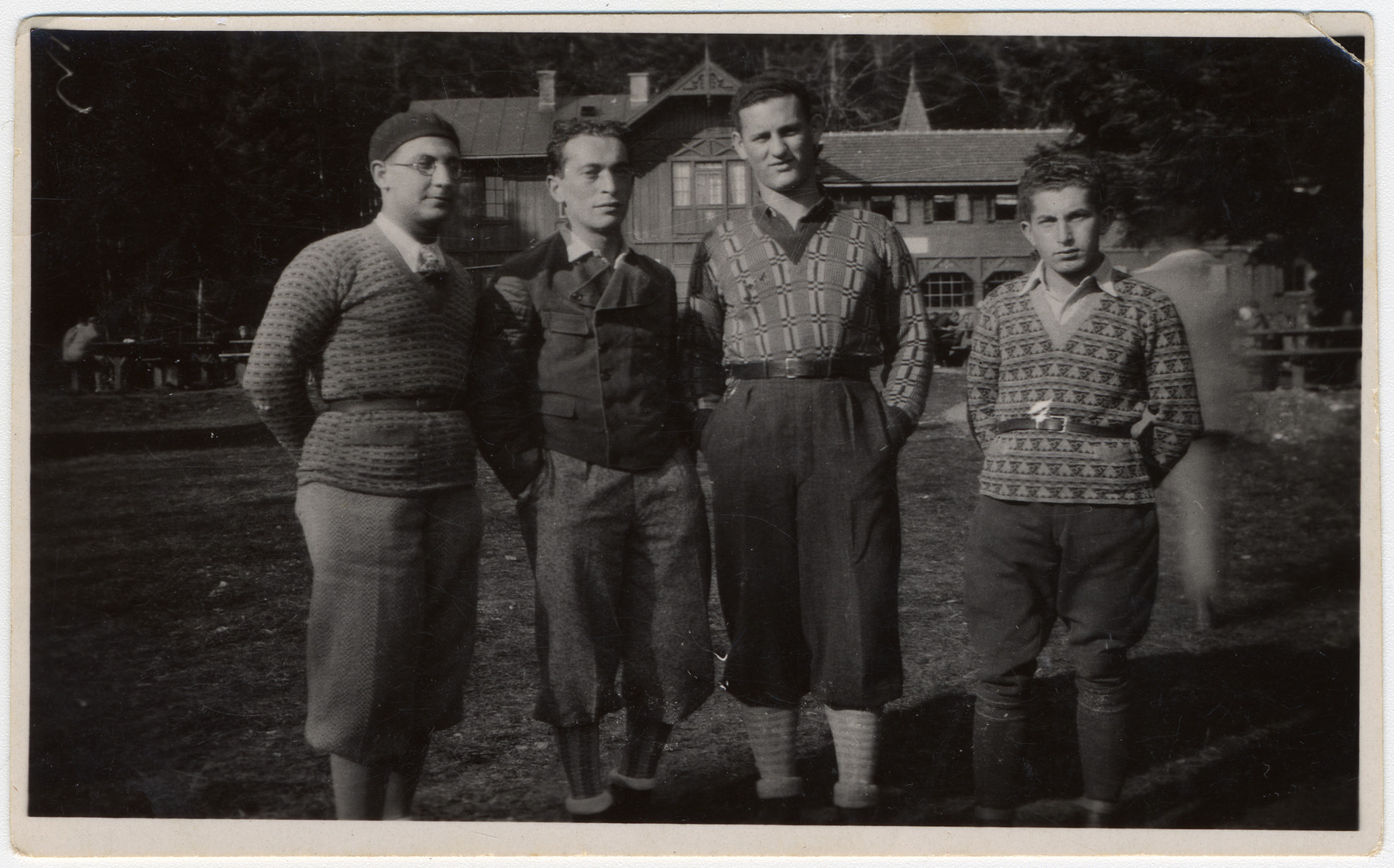 Group portrait of four friends, all members of the Craotian Maccabi team.  Andor Willer is standing on the far right.  The man to his left survived and moved to Israel.  The other three all perished.