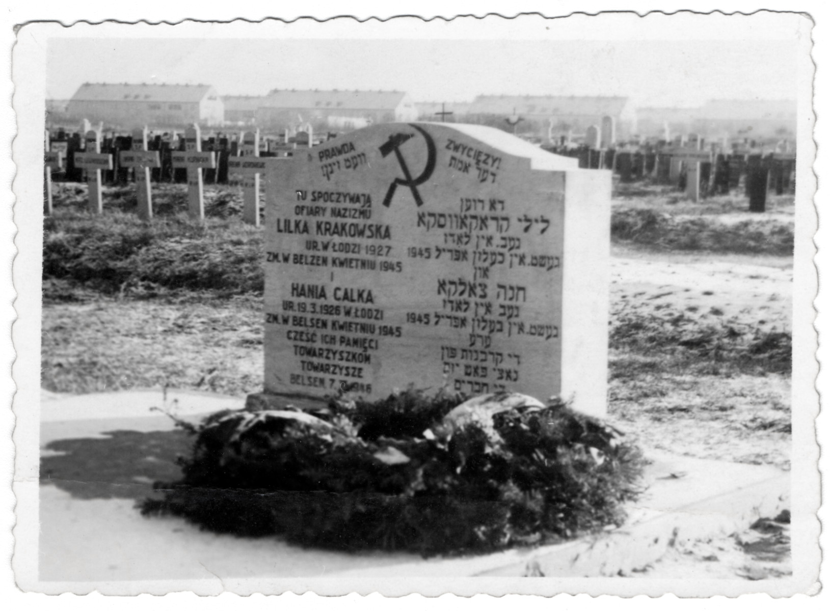Communist grave marker in Bergen-Belsen sent to the donor by her friend Heniek on the anniversary of the Russian Revolution.