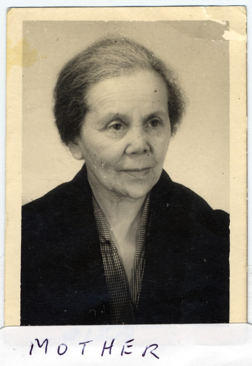 Studio portrait of Giza Menase, the mother of Adam Kahane, taken some time after the end of World War II.
