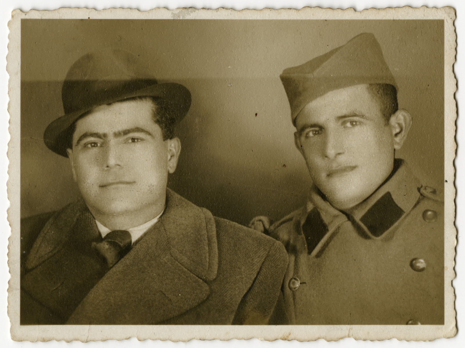 David Levi, on the right, with his brother Leon Levi who is serving in the Yugoslav army.
