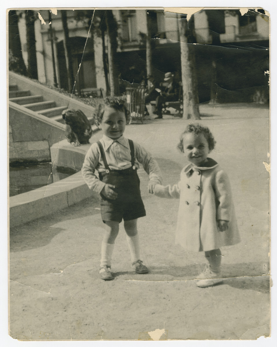 Two Jewish brothers pose outside at a park in Brussels during the early period of the German occupation.    Pictured are Jacques (left) and Nestor Hochglaube, ages four and two.