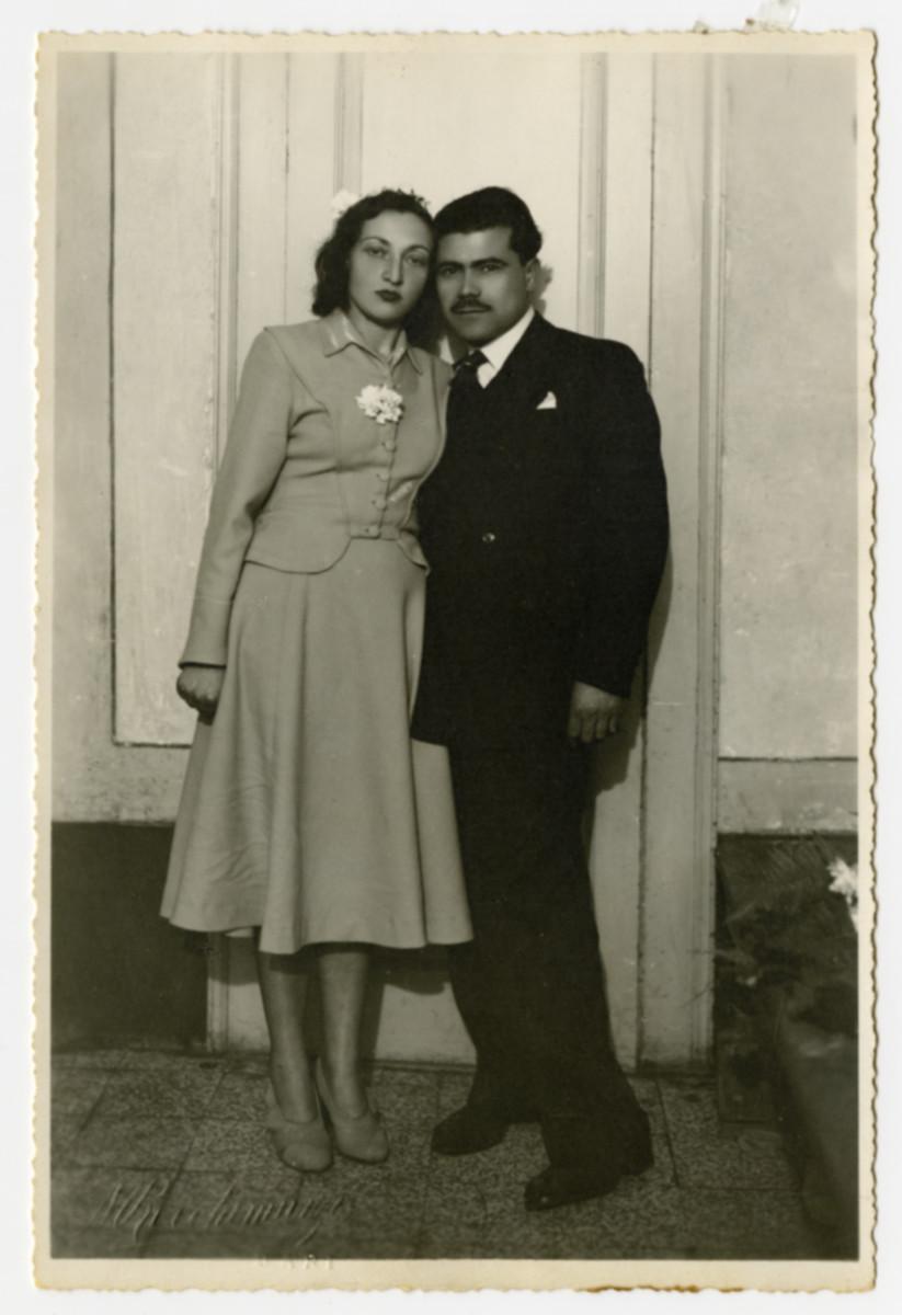 Wedding portrait of Clara and David Levy.