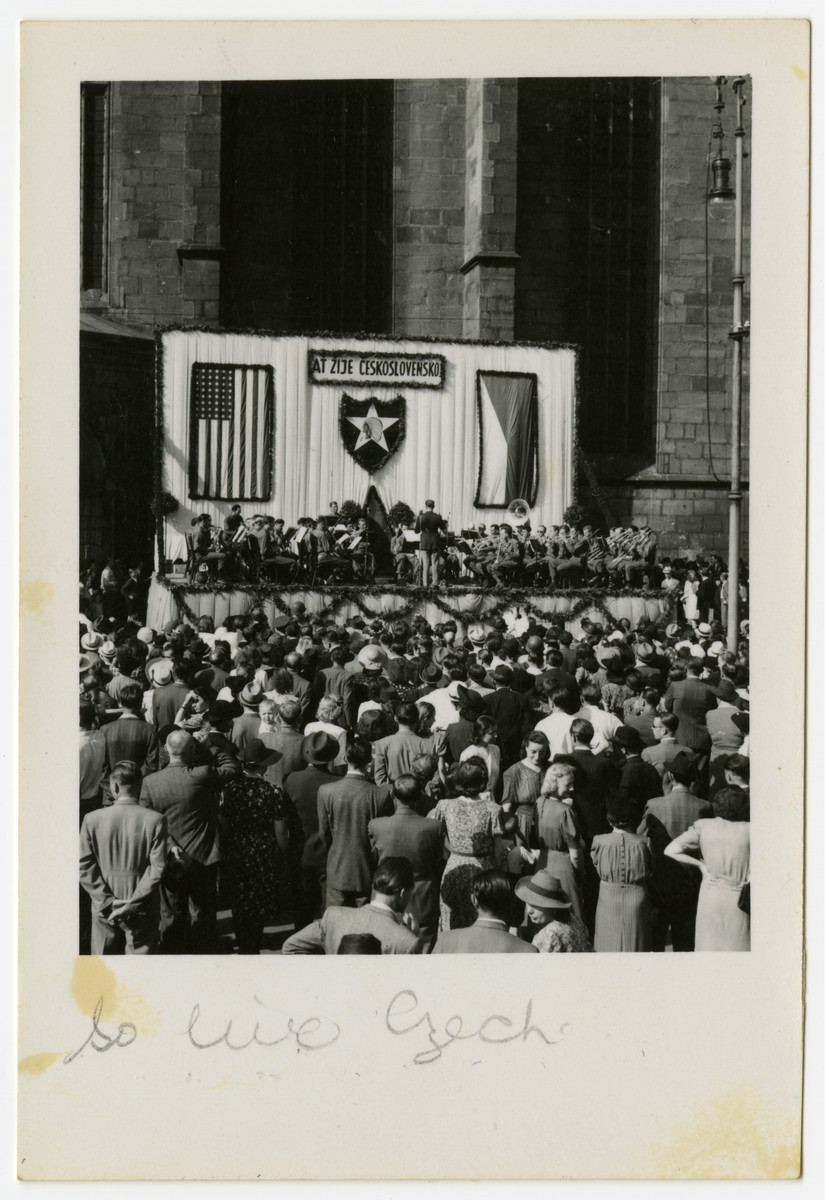 The people of Pilsen, Czechoslovakia gather and celebrate their liberation.