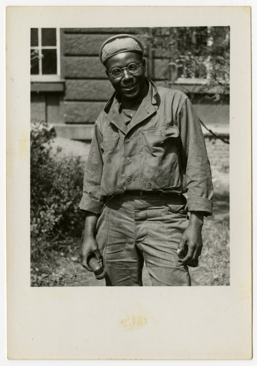 An African American soldier poses for a picture in Pilsen, Czechoslovakia on its liberation day.