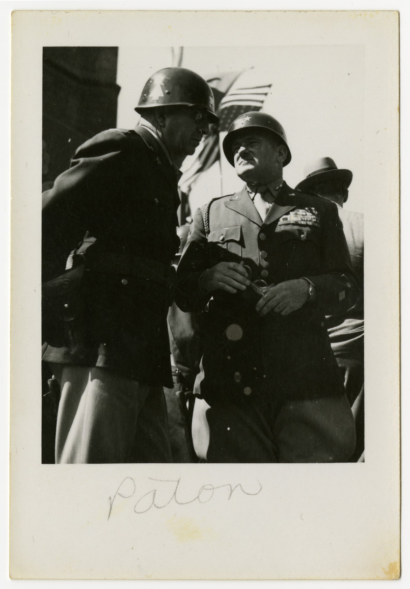 General George Patton stands with another American officer in Pilsen, Czechoslovakia on its liberation day.