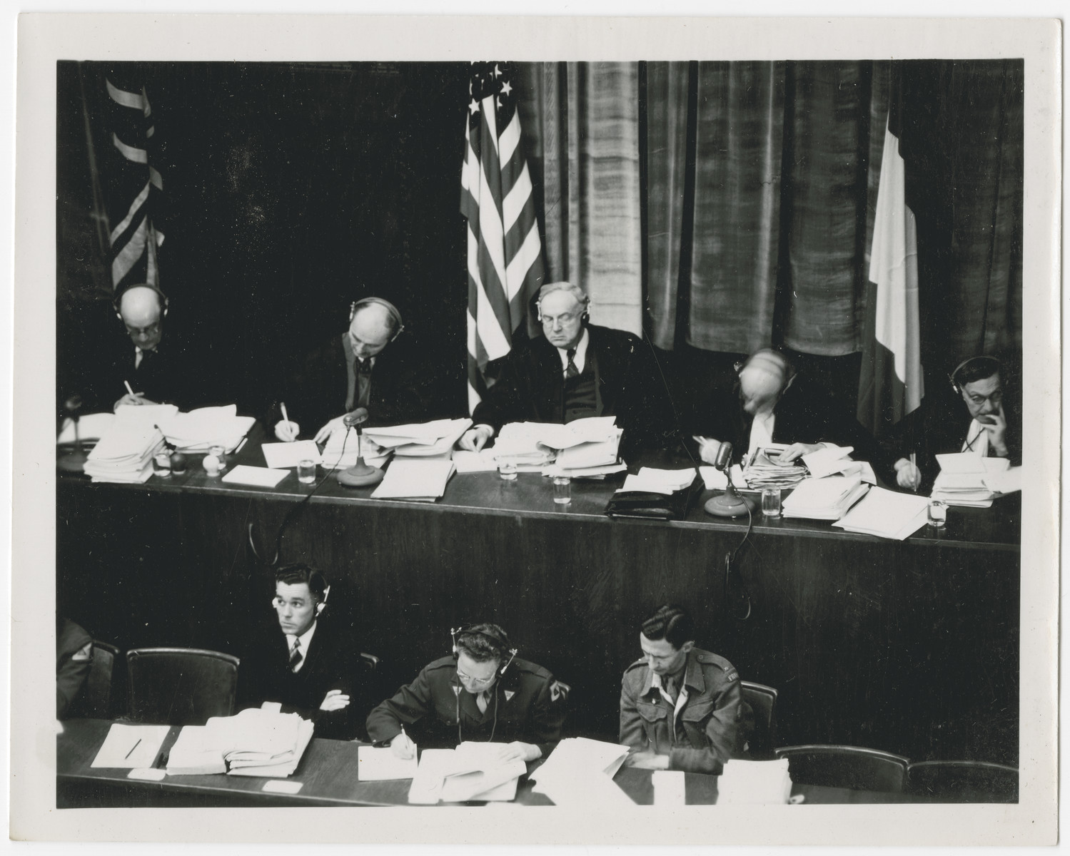 The justices work at their bench during the International Military Tribunal in Nuremberg.