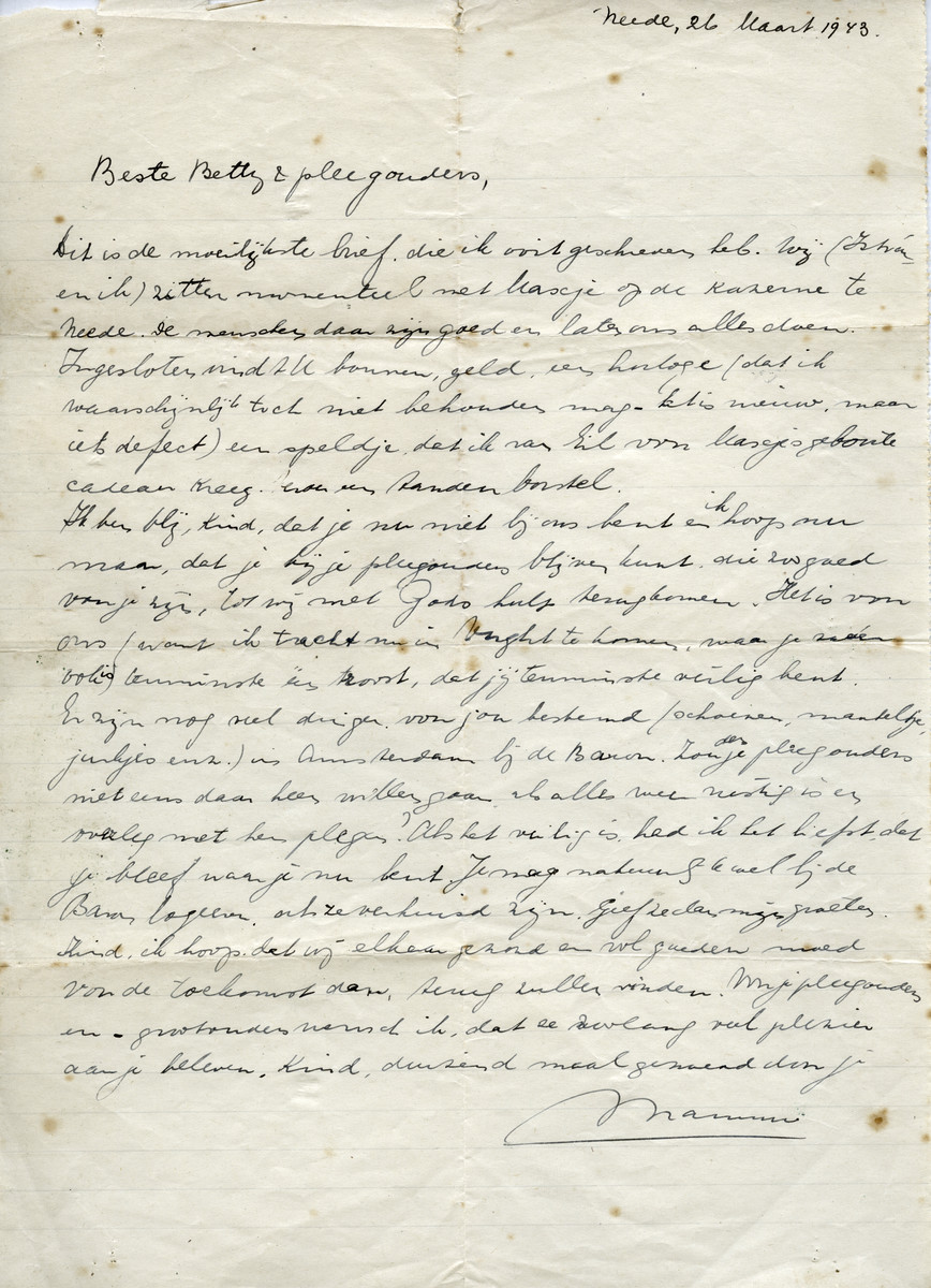 Letter sent by Johanna Rosenbaum to her daughter Betty while in