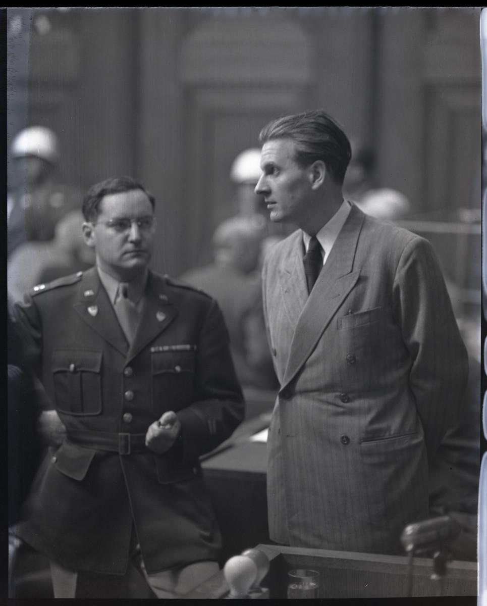 Close up photograph of Baldus von Schirach, a defendant in the International Military Tribunal in Nuremberg.