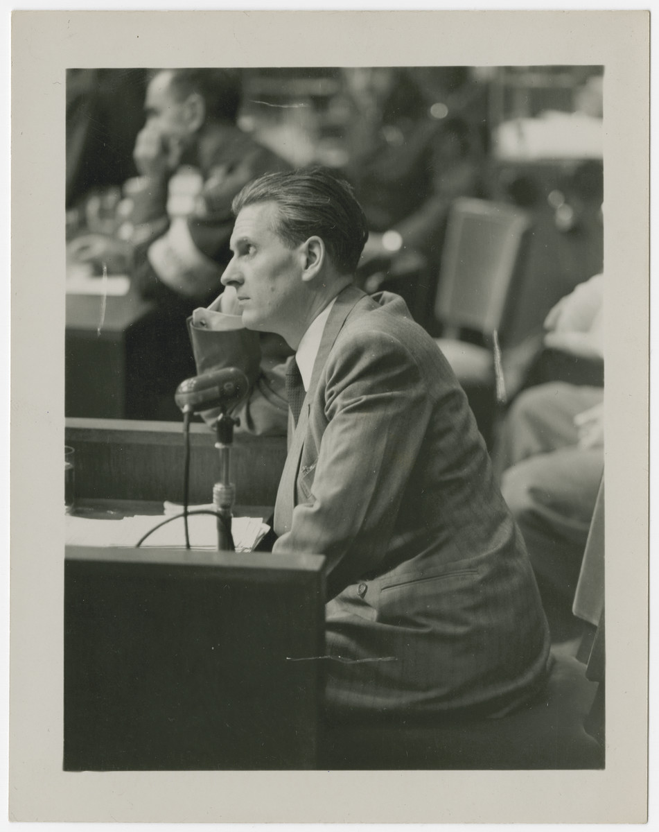 "Original cation reads: Baldur von Schirach, once head of the ""Hitler Jugend"", (Hitler Youth Movement) on the stand in his own defense before the International Military Tribunal trials, in Nuremberg, Germany.  Baldur von Sirach was found guilty and sentenced to twenty years imprisonment."