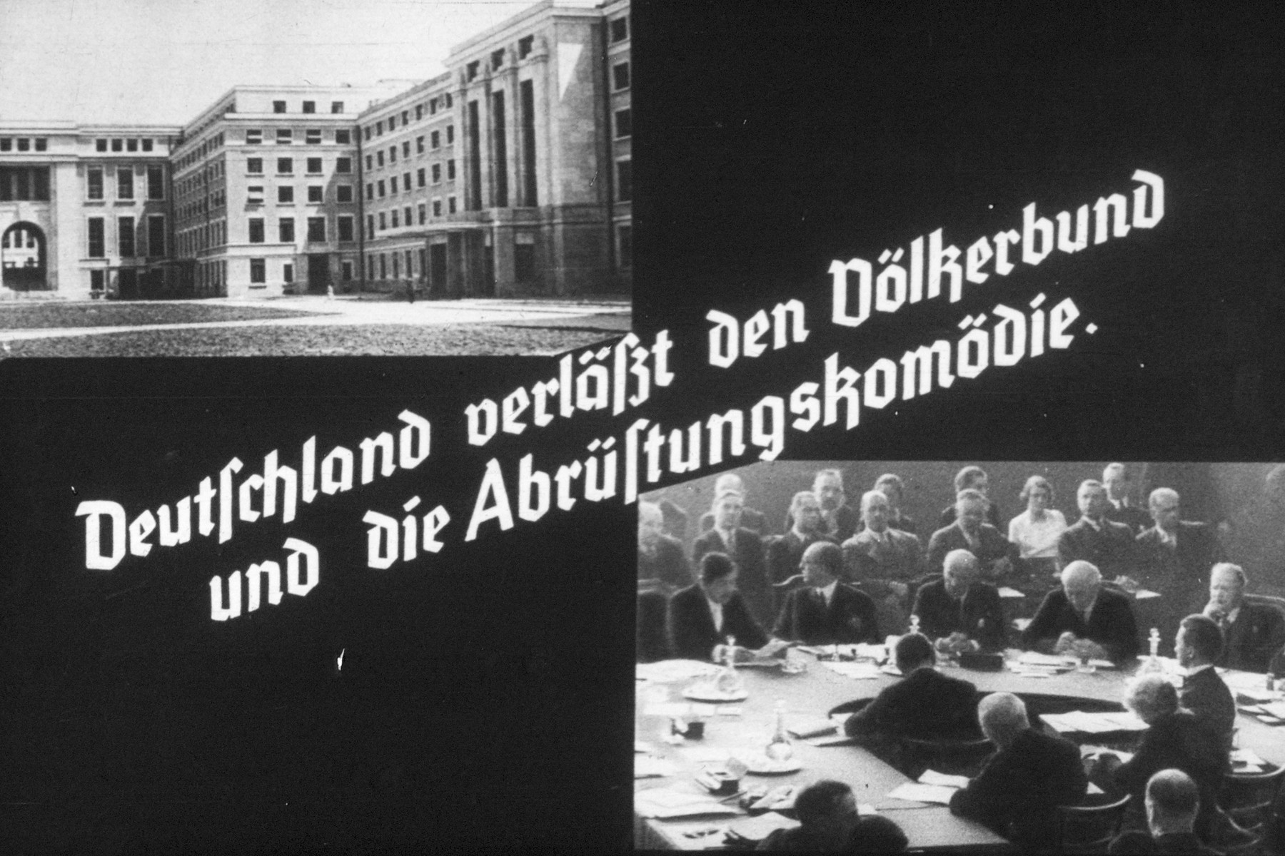 18th slide from a Hitler Youth slideshow about the aftermath of WWI, Versailles, how it was overcome and the rise of Nazism.  Deutschland verlässt den Völkerbund und die Abrüstungskomödie. // Germany leaves the League of Nations and the comedy of the disarmement.