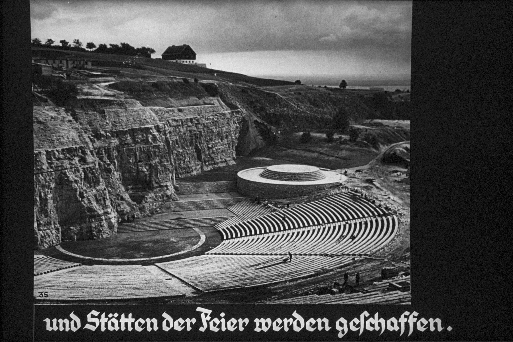 "36th Nazi propaganda slide from Hitler Youth educational material titled ""Border Land Upper Silesia.""  und Stätten der Feier werden geschaffen. // and sites of the celebration to be created."