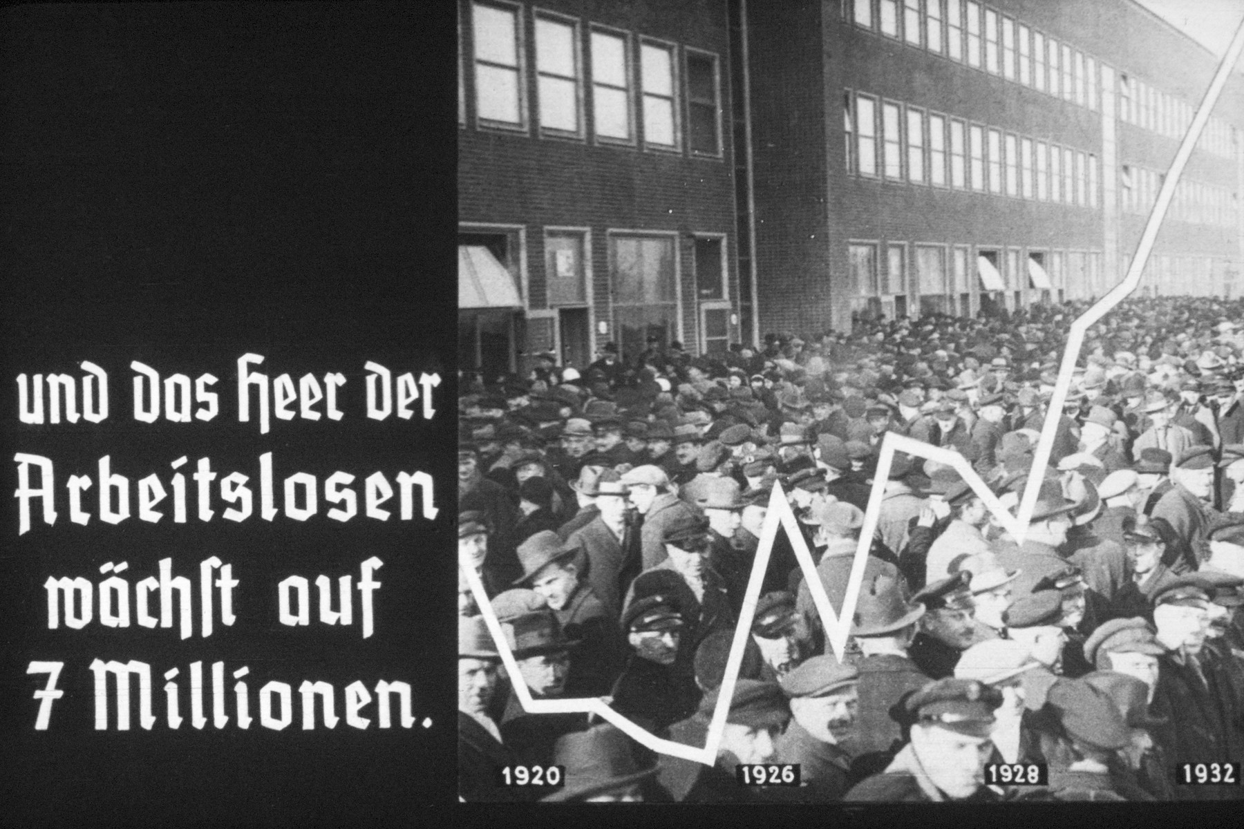 16th slide slide from a Hitler Youth slideshow about the aftermath of WWI, Versailles, how it was overcome and the rise of Nazism.  und das heer der Arbeitslosen wächst auf 7 Millionen // and the army of the unemployed grows to 7 million