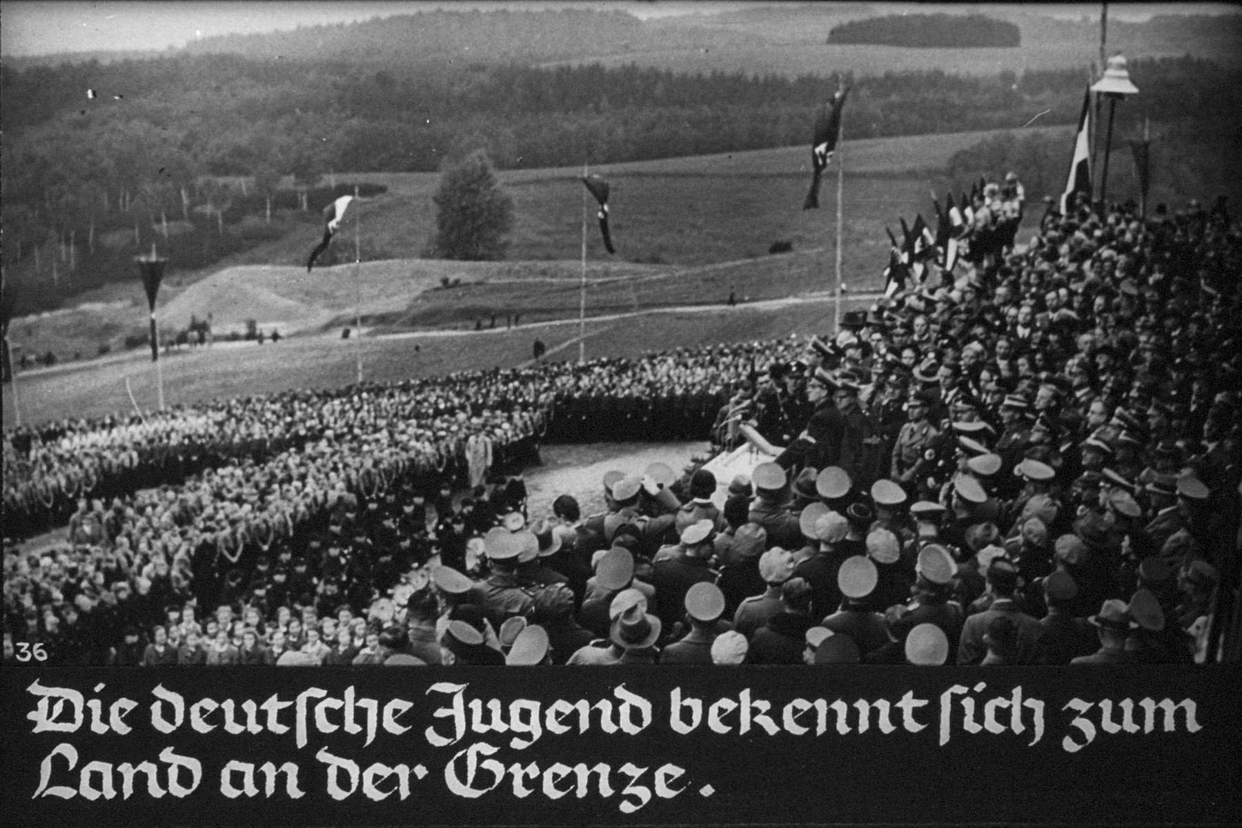 "37th Nazi propaganda slide from Hitler Youth educational material titled ""Border Land Upper Silesia.""  Die deutsche Jugend bekennt sich zu Land an der Grenze. // The German youth is committed to the country at the border."