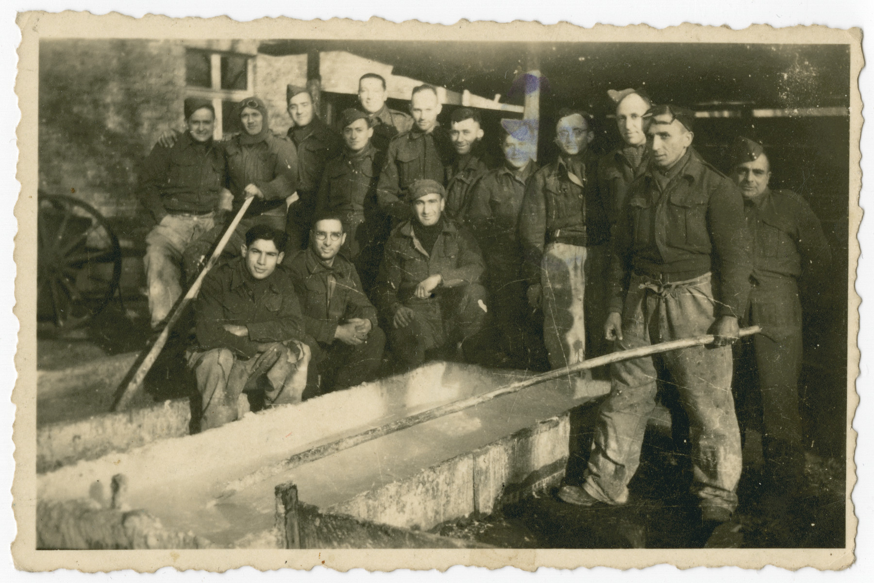Group portrait of British POWs in Stalag IV A, Elsterhorst.  Among those pictured is Erich de-Beer, a Germany Jew who immigrated illegally to Palesline and joined the British army.