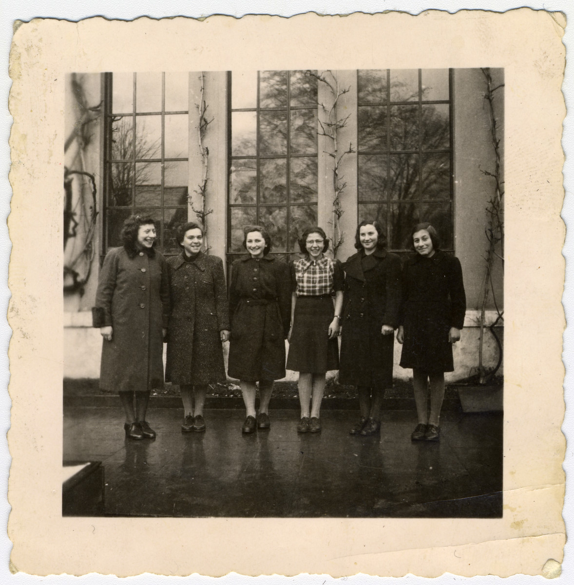 Group portrait of all the female residents of Dr. Stern's children's home in Basel.  Ruth Schwarzhaupt stand on the far right.