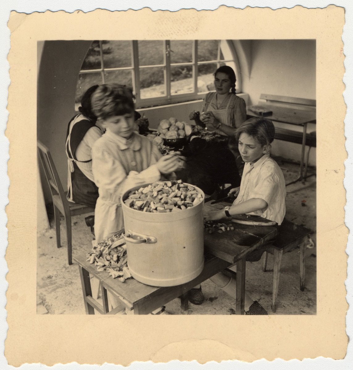 Two young boys cut up vegetables and prepare a meal during their kitchen duty at the École d'Humanité.