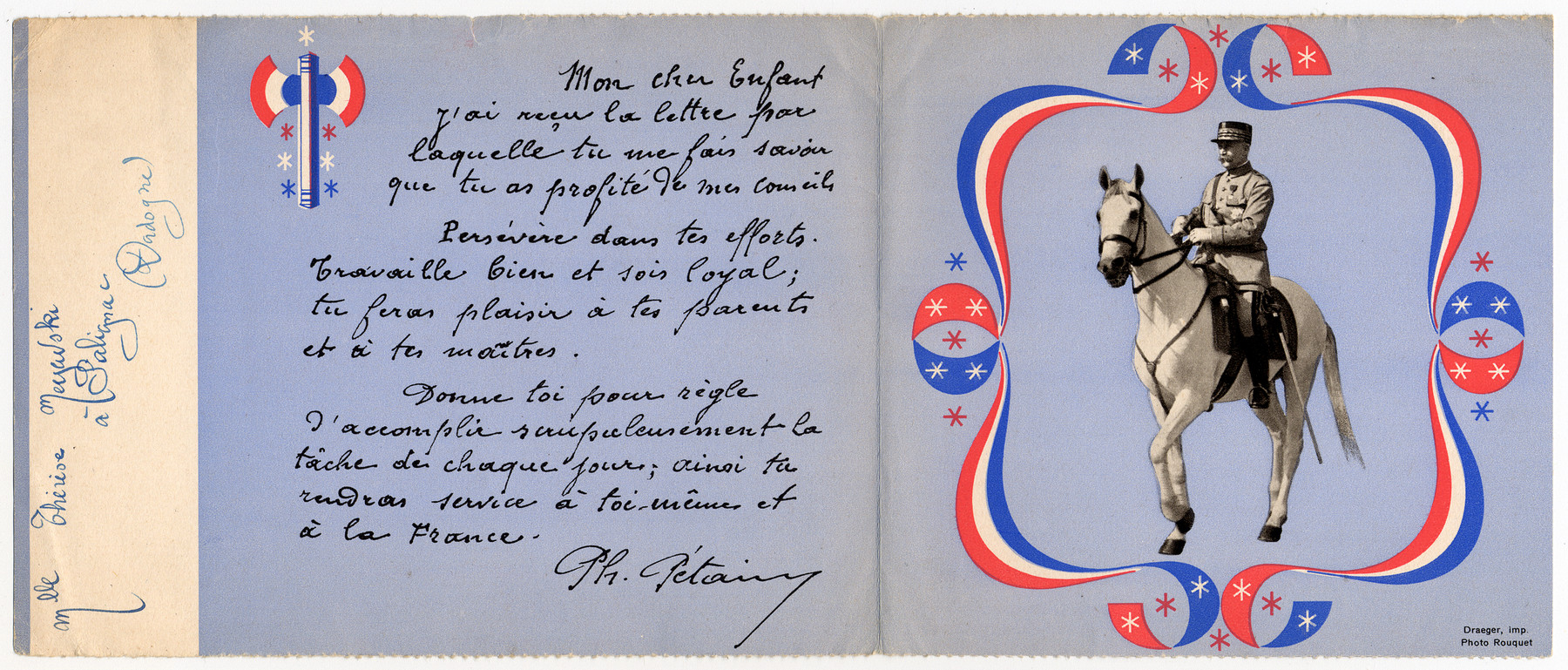 "Letter by Marshall Petain, head of Vichy France, addressed to ""My dear child"" wirtten to Ingeborg Majewski, a Jewish refugee."