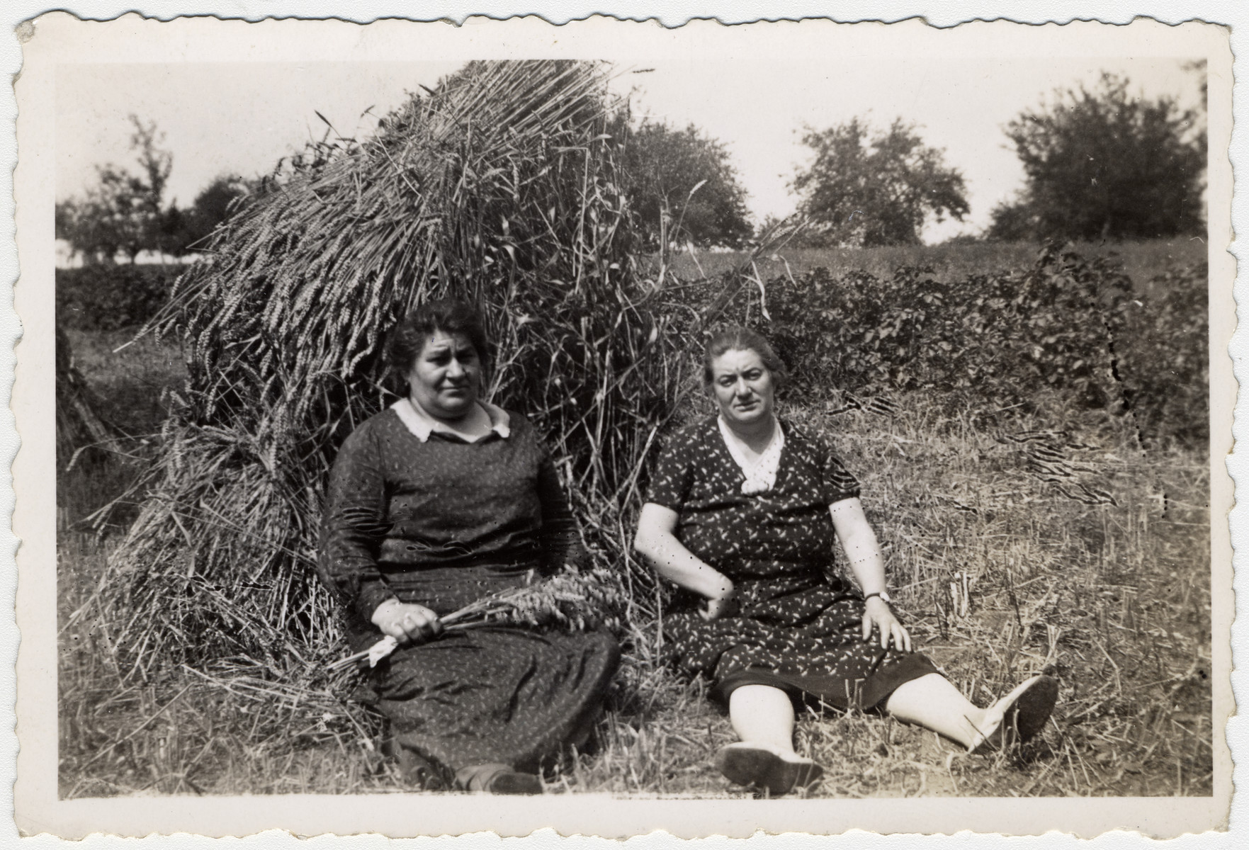 Two Alscatian Jewish women sit in a field next to a haystack.  Jeanne Moskow (the mother of Henri Moskow) is seated on the right.