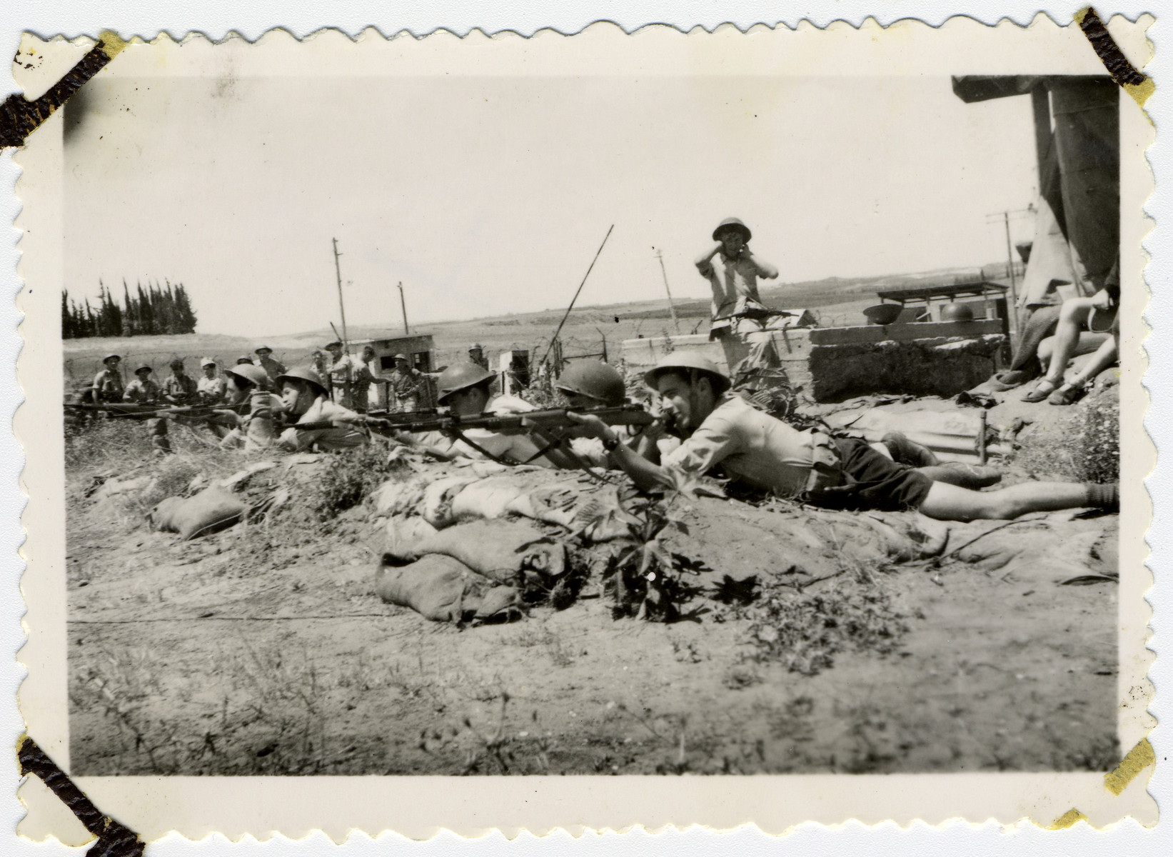 Israeli soldiers fire their weapons during the Israeli War of Independence.