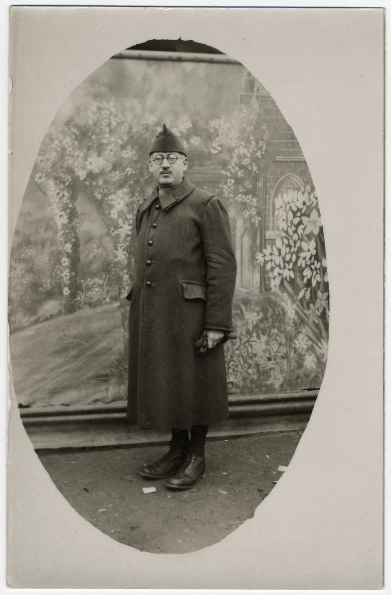 Studio portrait of an Austrian Jewish man who was deported from Belgium and interned in Le Vernet.  Pictured is Alfred Frost.