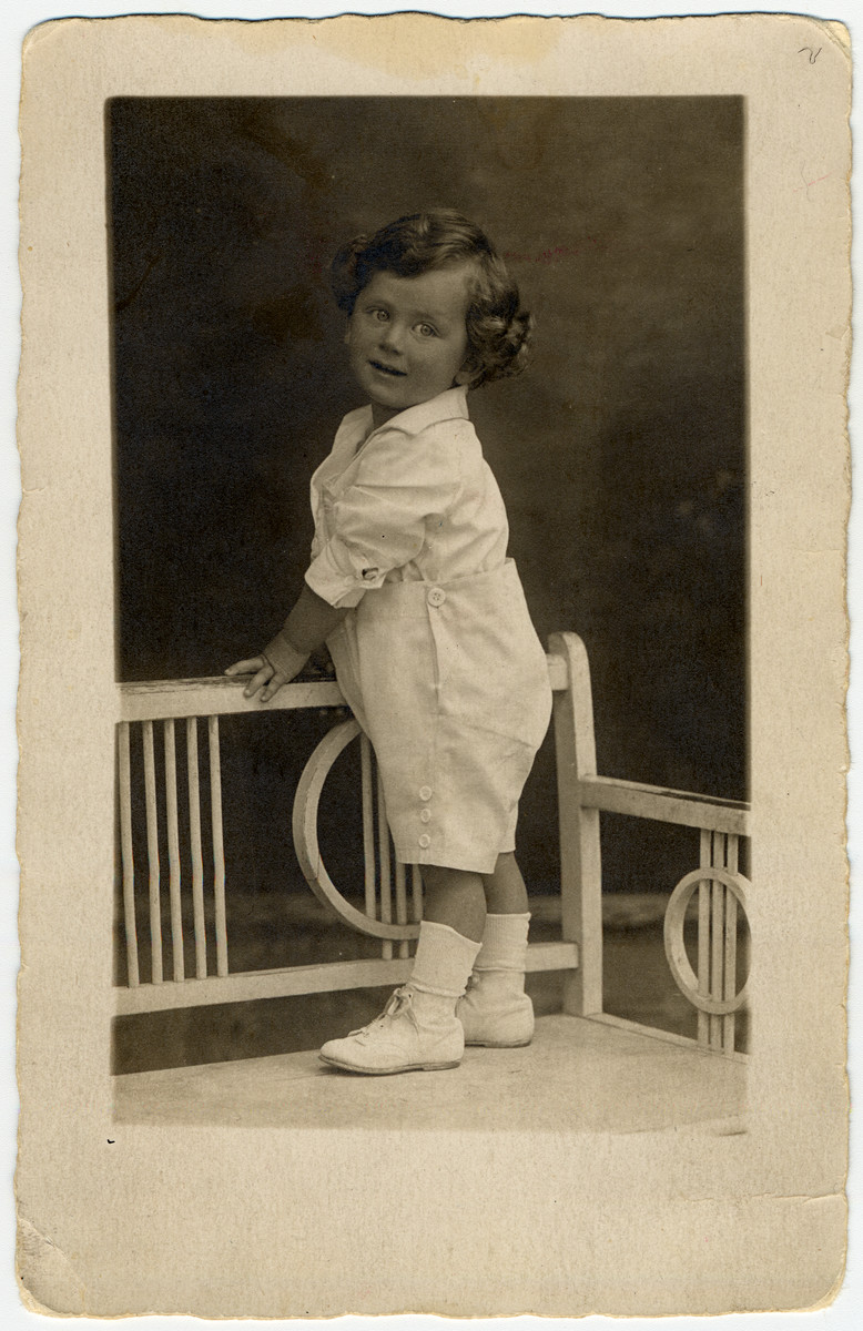 Studio portrait of two-year-old Kurt Klein.