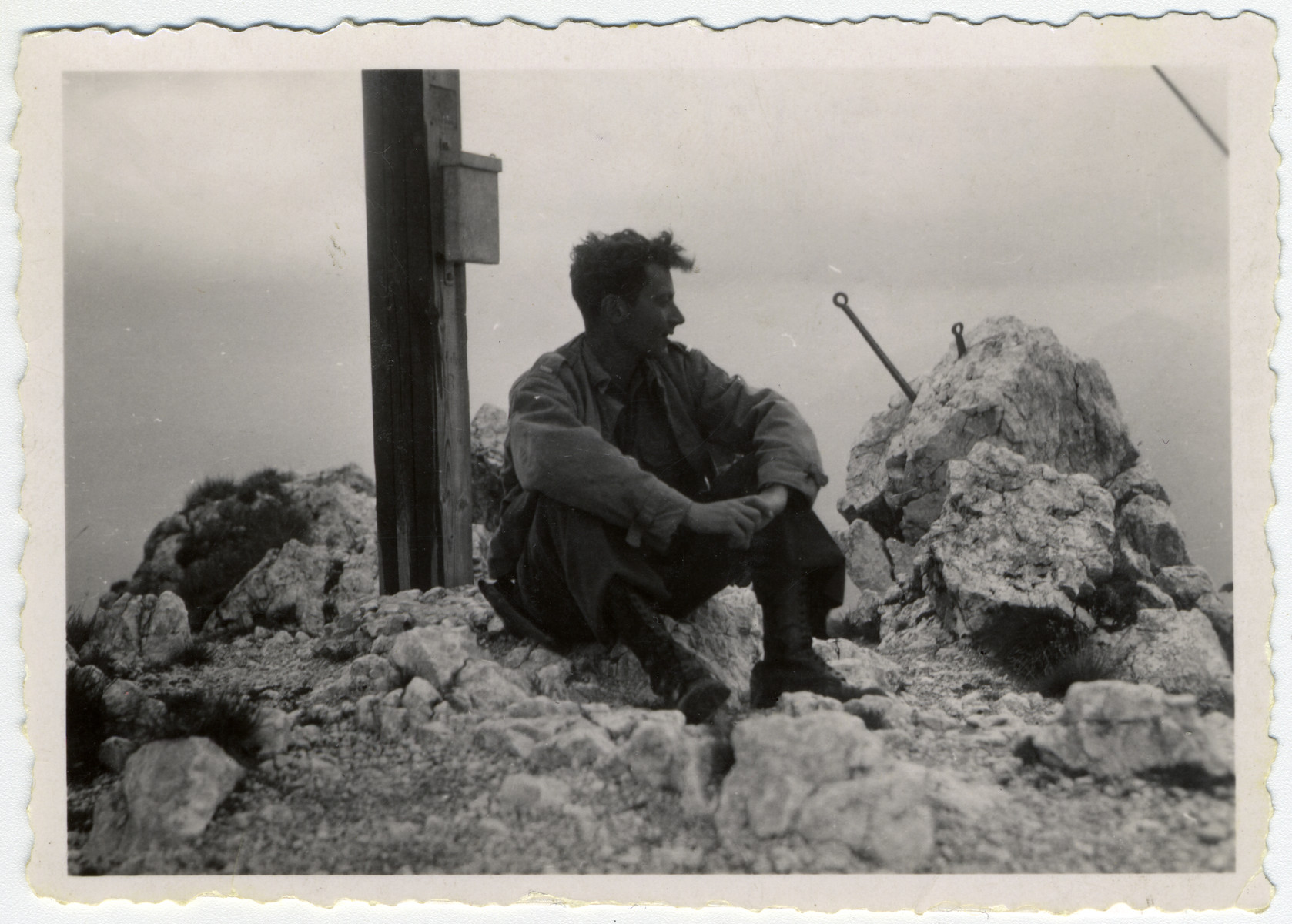 Jewish serviceman Kurt Klein hikes in the mountains near Oberammergau where he had hiked with his family before immigrating to the United States.