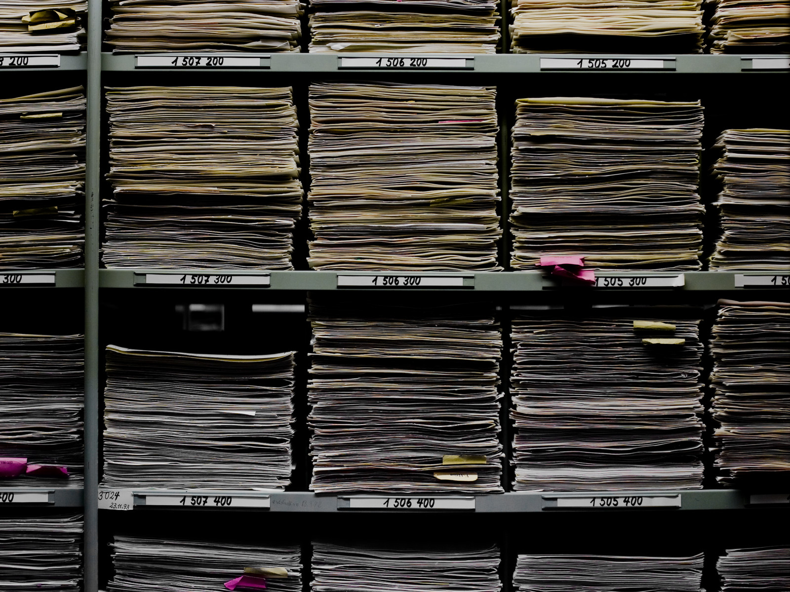Close-up view of the Processing Unit of the International Tracing Service showing shelves with documents filed horizontally.   These are the files generated by nearly 3 million enquiries.