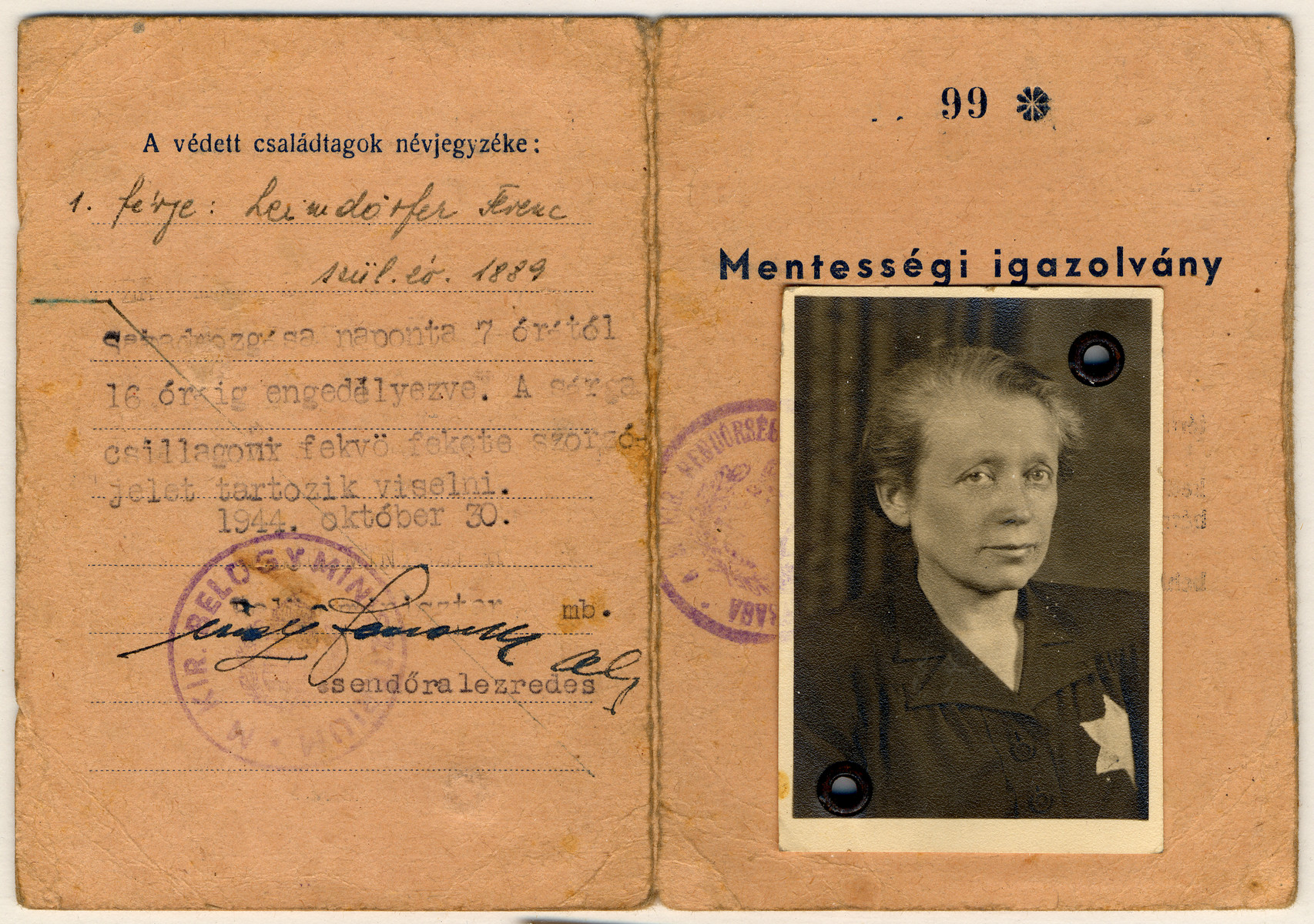 Hungarian identification card for a Jewish woman wearing a Star of David.