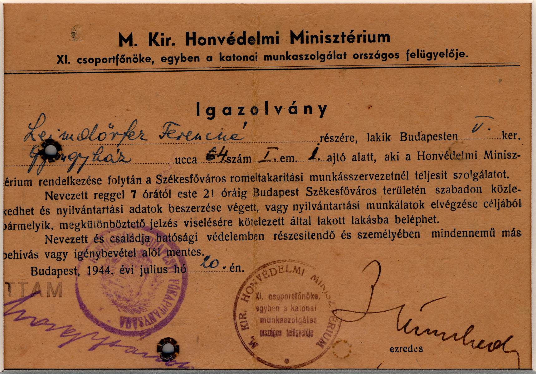 Verso of a Hungarian identification card.