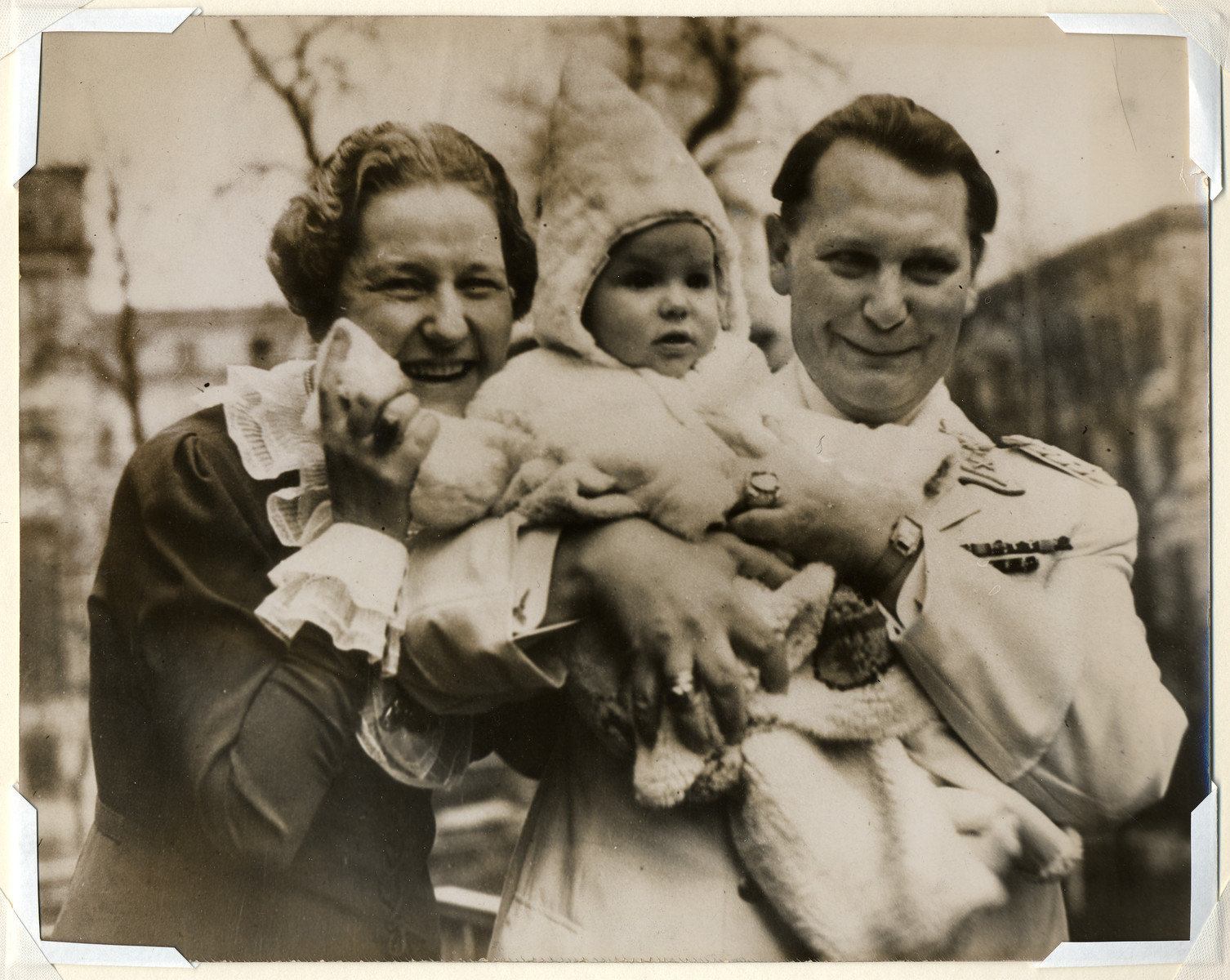 Herman Goering pictured with his daughter, Edda, and wife Emmy Sonnenmann Goering.
