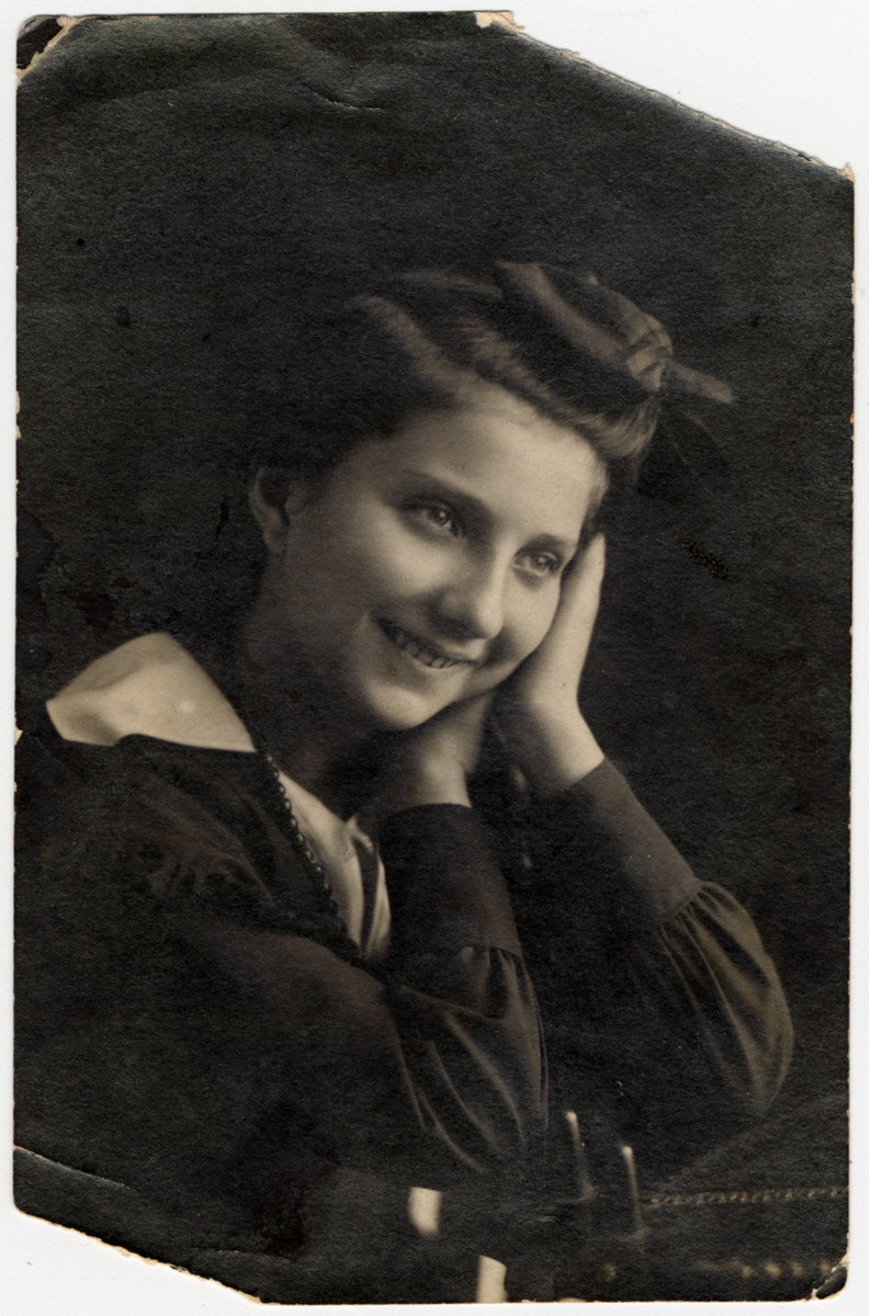 Studio portrait of an unidentified relative of Regina Goldberg.  Regina immigrated to the United States in 1930 and the bulk of her family in Warsaw, including five aunts, uncles and cousins perished in the Holocaust.