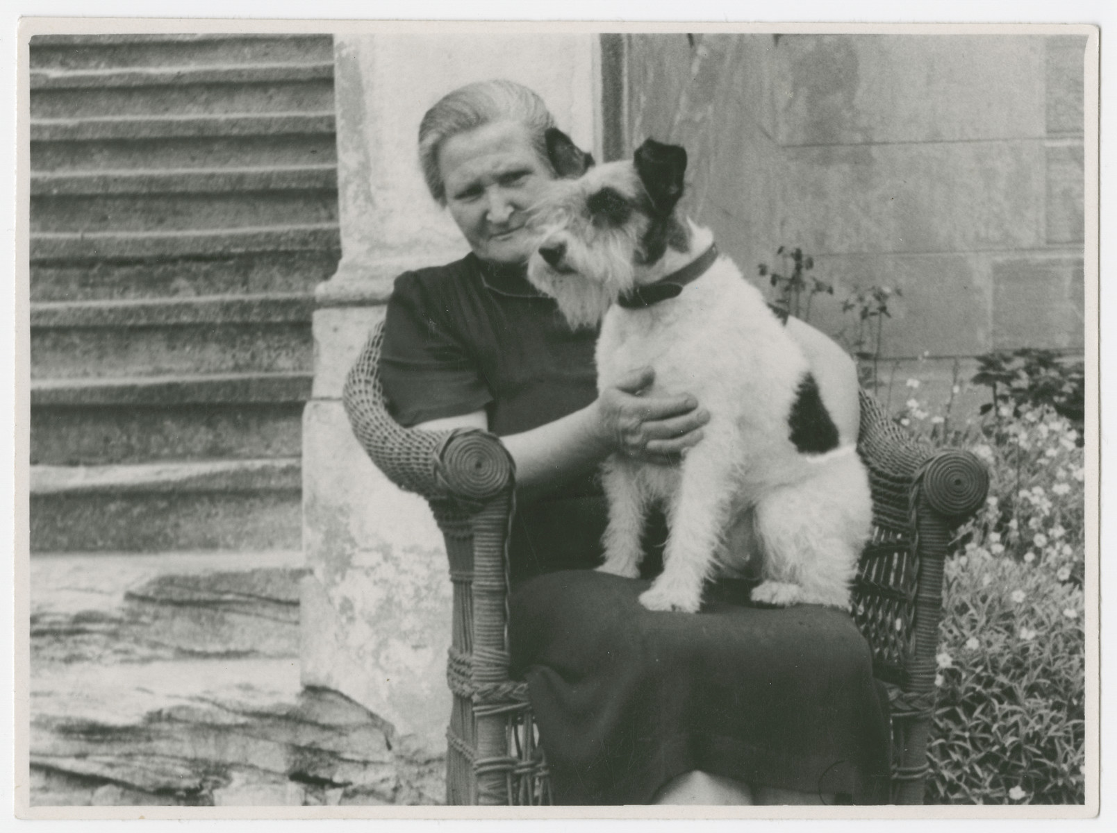Anda Duchanova  poses with her dog on a wicker chair.  Anda Duchanova lived with the Grunwald family in Prague before the war.  She saved their belongings and photographs and restored them after the war.  Later, Kurt Grunwald and his one survivng brother-in-law, Frank Eisenstein,both agreed to give her the Einsenstein villa in Klanovice where she lived till her death.