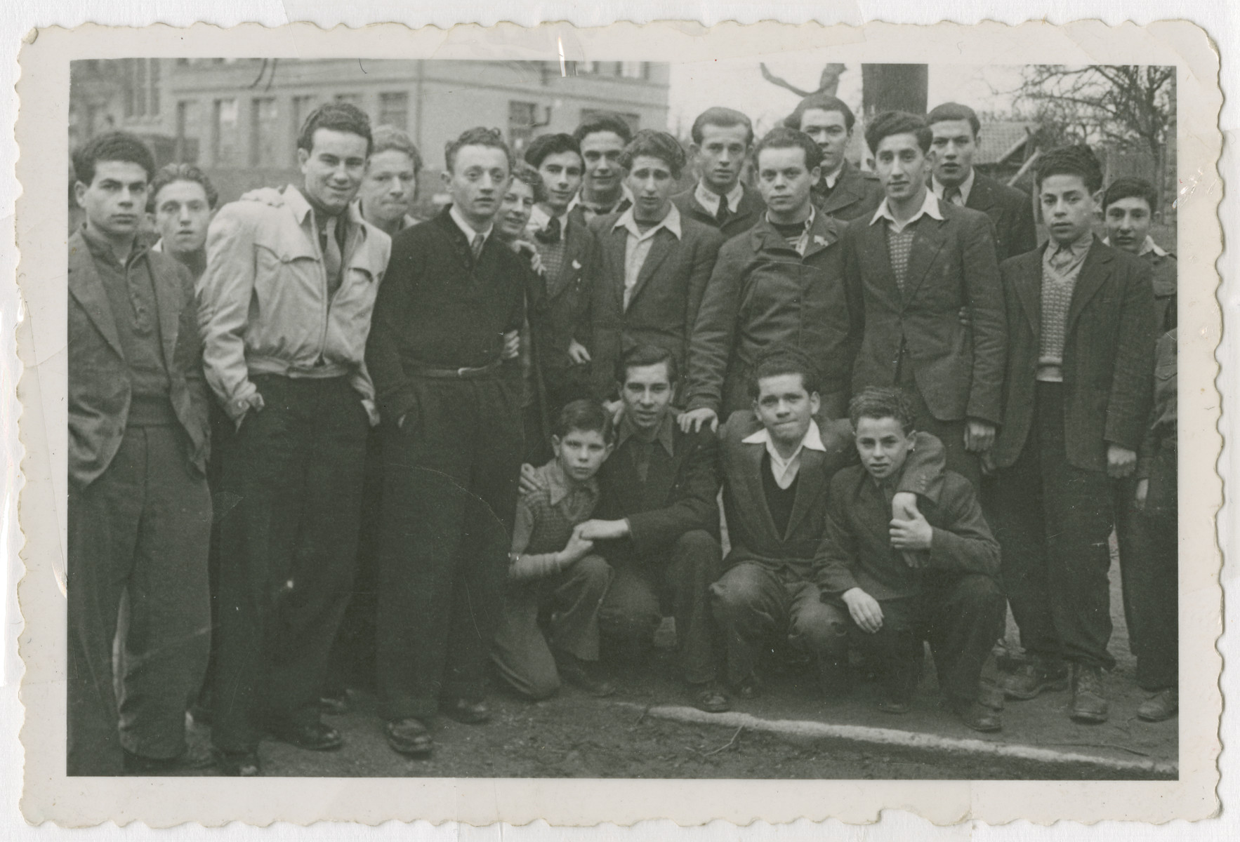 Group portrait of Jewish teenagers from the Aglasterhausen children's home.  Sziku Smilovic is pictured standing seventh from the left.