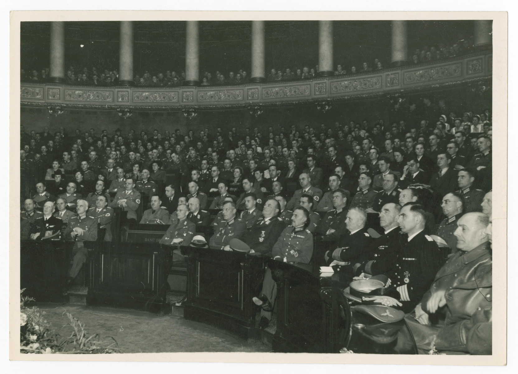 Delegates gather to hear Alfred Rosenberg speak to the French National Assembly.