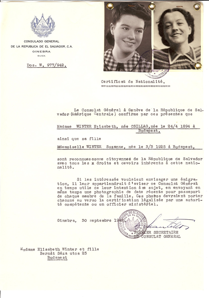 Unauthorized Salvadoran citizenship certificate issued to Elisabeth (nee Csillag) Winter (b. April 24, 1894 in Budapest) and her daughter Suzanne (b. March 3, 1925) by George Mandel-Mantello, First Secretary of the Salvadoran Consulate in Geneva and sent to them in Budapest.
