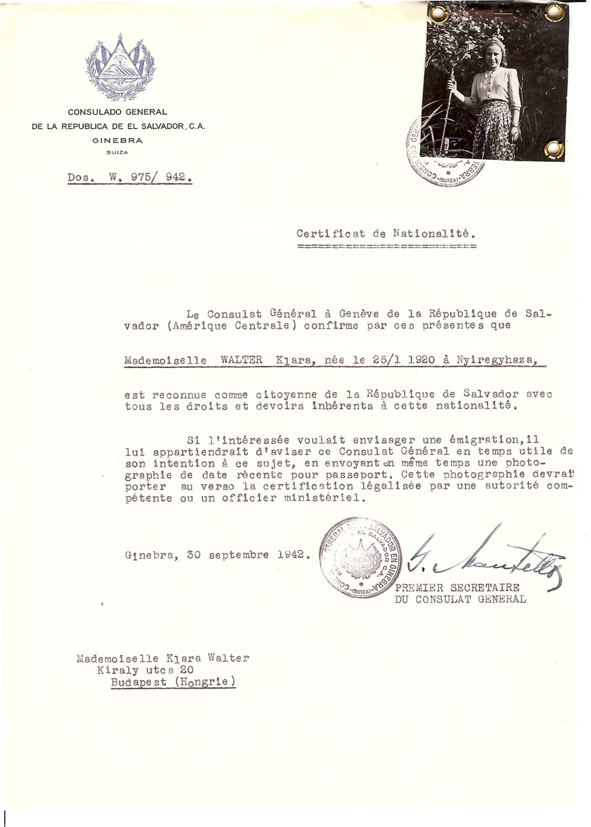 Unauthorized Salvadoran citizenship certificate issued to Klara Walter (b. January 25, 1920 in Nyiregyhaza) by George Mandel-Mantello, First Secretary of the Salvadoran Consulate in Geneva and sent to her in Budapest.