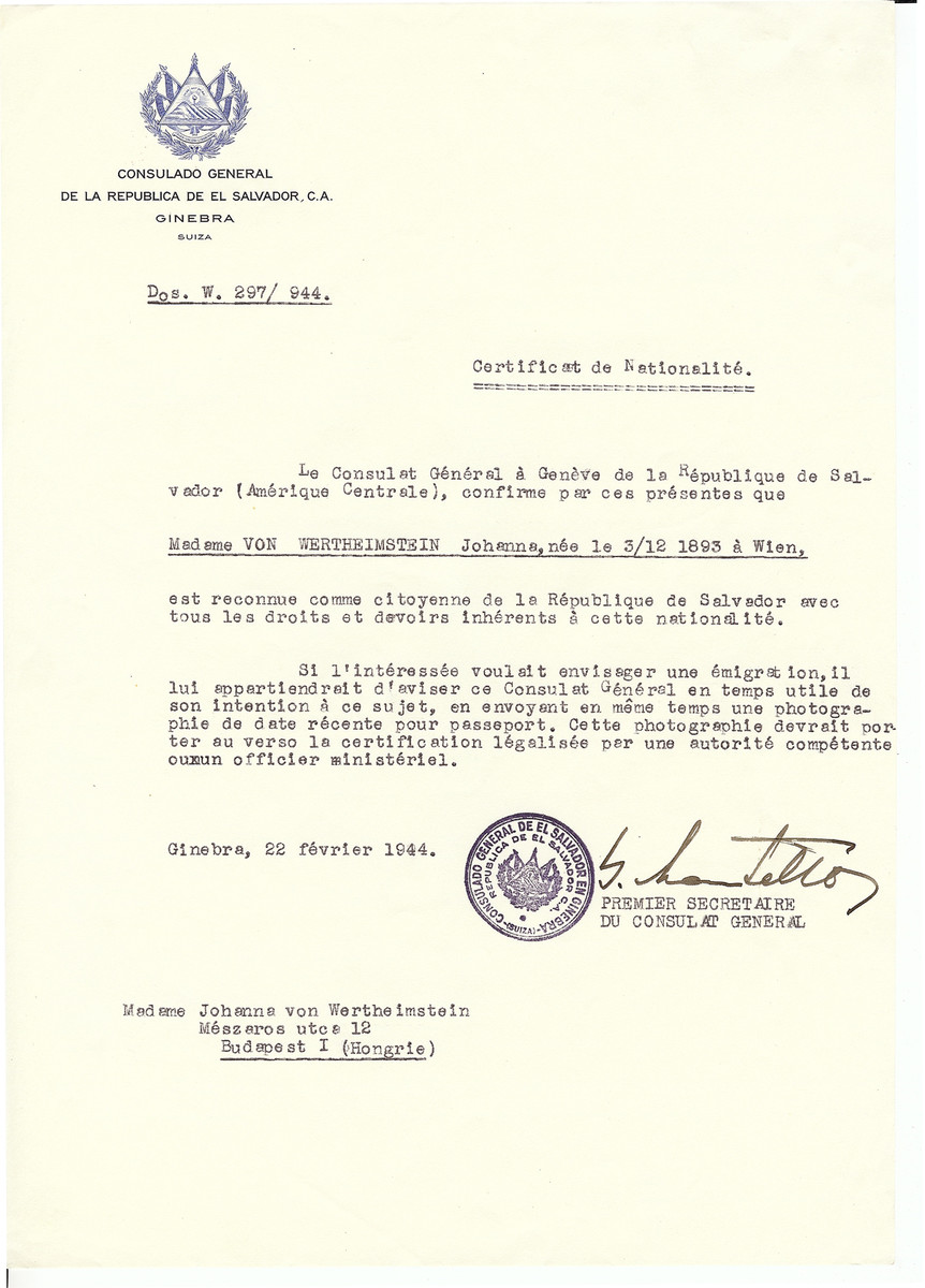 Unauthorized Salvadoran citizenship certificate issued to Johanna von Wertheimstein (b. December 3, 1893 in Vienna) by George Mandel-Mantello, First Secretary of the Salvadoran Consulate in Geneva and sent to her in Budapest.