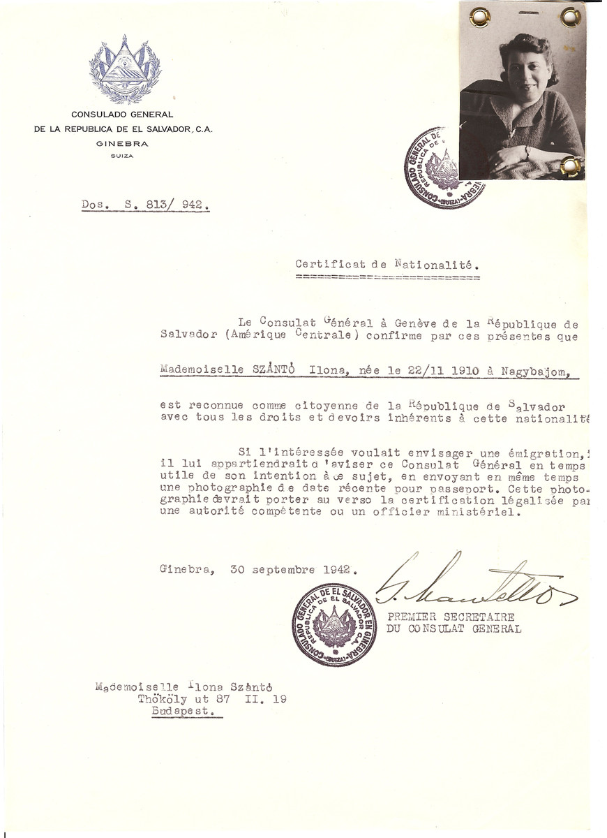 Unauthorized Salvadoran citizenship certificate issued to Ilona Szanto (b. November 22, 1910 in Nagybajom) by George Mandel-Mantello, First Secretary of the Salvadoran Consulate in Geneva, and sent to her in Budapest.