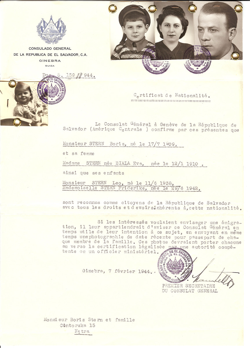 Unauthorized Salvadoran citizenship certificate issued to Boris Stern (b. July 17, 1909), his wife Eva (nee Biala) Stern (b. January 12, 1910) and their children Leo (b. June 11, 1938) and Friderike (b. June 29, 1942) by George Mandel-Mantello, First Secretary of the Salvadoran Consulate in Geneva, and sent to them in Nitra.