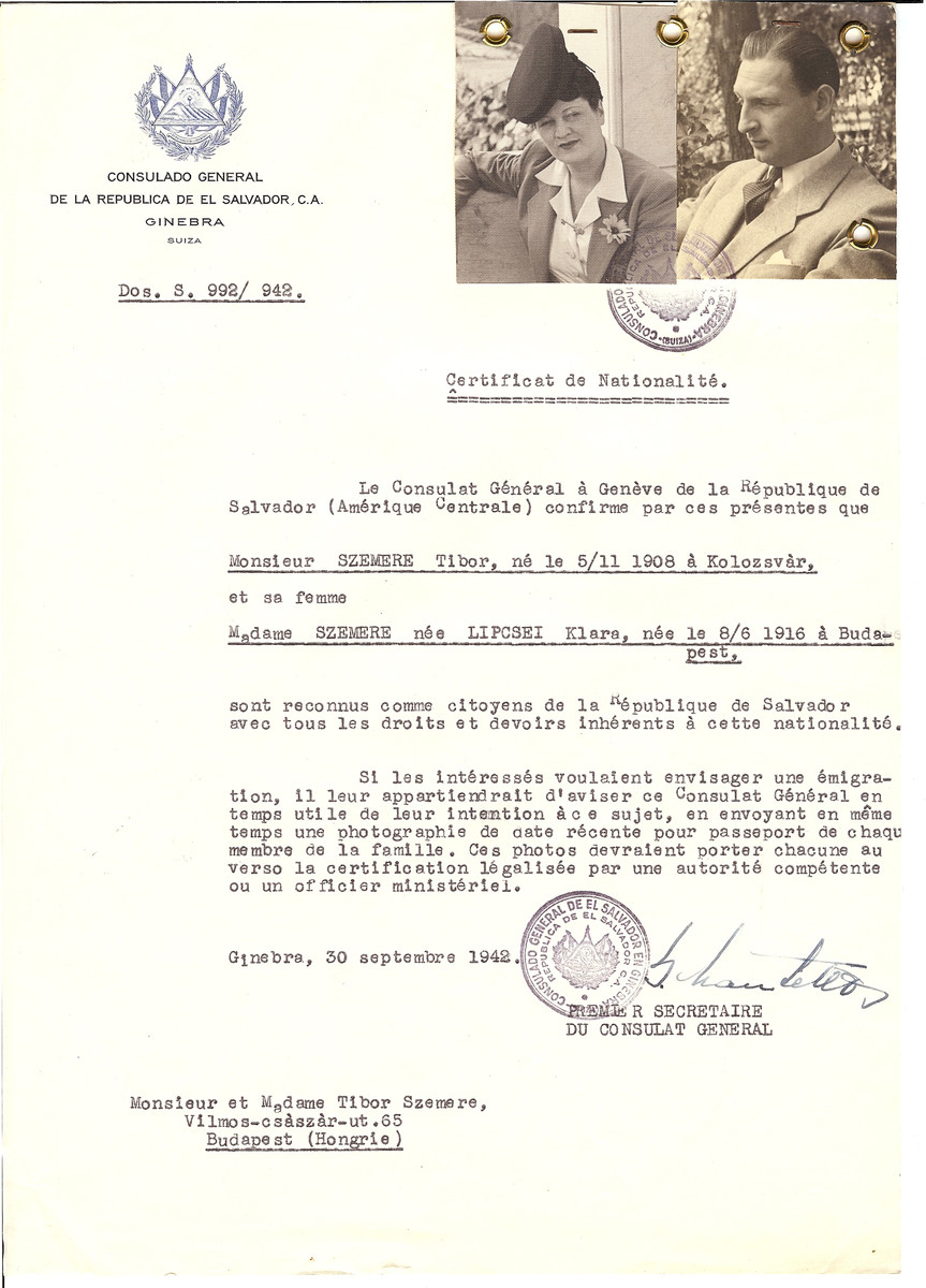 Unauthorized Salvadoran citizenship certificate issued to Tibor Szemere (b. November 5, 1908 in Koloszvar) and his wife Klara (nee Lipcsei) Szemere (b. June 8, 1916 in Budapest) by George Mandel-Mantello, First Secretary of the Salvadoran Consulate in Geneva, and sent to them in Budapest.