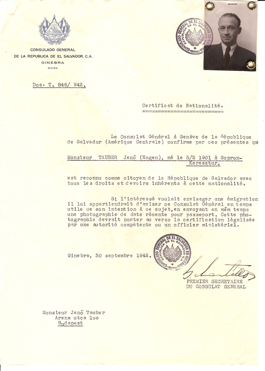 Unauthorized Salvadoran citizenship certificate issued to Jeno (Eugen) Tauber (b. February 5, 1901 in Sopron) by George Mandel-Mantello, First Secretary of the Salvadoran Consulate in Geneva, and sent to him in Budapest.